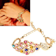 Vintage Gold Colorful Crystal Rhinestone Peacock Bracelet Bangle Hand Chain