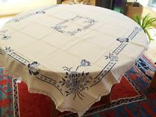 "Vtg. ""perfect"" LARGE LOVELY NORWEGIAN EMBROIDERED TABLE CLOTH FROM NORWAY"