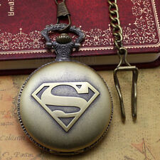 Antique Style Steampunk Superman Sign Bronze Pocket Watch Chain Mens Xmas Gift