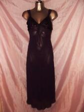 VINTAGE OLIVIA SILKY SHEER NYLON NIGHTGOWN IN BURGANDY SIZE SMALL