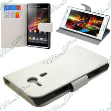 Etui Coque Housse Portefeuille Video BLANC Sony Xperia SP M35h C5302 C5303 C5306