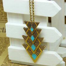 Charm Pendant Boho Women Multi Triangle Long Chain Sweater Necklace Jewelry