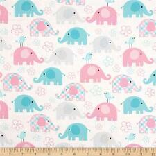 "Child's Play: Elephant Pastel 100% cotton 44"" fabric by the yard"