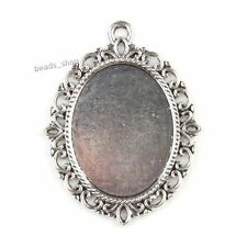 8pc Flower Brim Oval Antique Silver Alloy Pendant Cameo Cabochon Setting Base BS