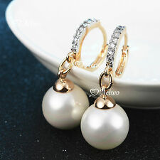 18K YELLOW WHITE GOLD GF SWAROVSKI CRYSTAL LADIES WOMEN PEARL EARRINGS CLASSIC