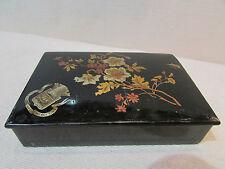 ancienne boite coffret en papier maché carton bouilli decor floral