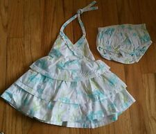 Janie and jack 0-3 M nb baby girl whte blue fish ruffled sun dress bloomers mint