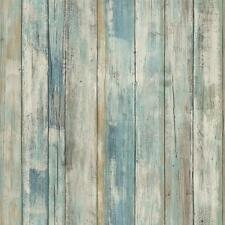 RMK9052WP Blue Distressed Wood Peel and Stick Wallpaper