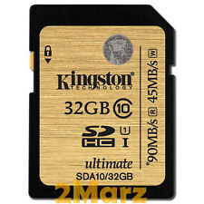 Kingston 32GB 32G 600x SDHC SD Flash Card Memory Camera DSLR U1 Class 10 90MB/s