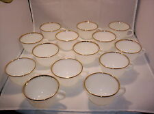 14 Vintage Fire King Milk White Swirl Pattern Gold Trim Oven Ware Tea Cups