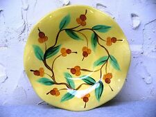 2002 Gail Pittman Ruffled Yellow Acorn Branches Serving Decorative Bowl 10.5""