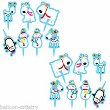 15 Christmas Cheer Happy Snowman Party Cupcake Cake Toppers Picks Decorations