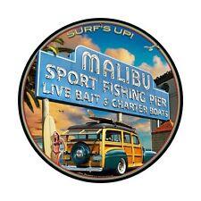 Kalifornien Malibu Beach Surf Pier Surfing Woodie Retro Sign Blechschild Schild