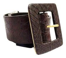 NEW YVES SAINT LAURENT YSL BROWN TEXTURIZED LEATHER WIDE WAIST BELT 80CM 32