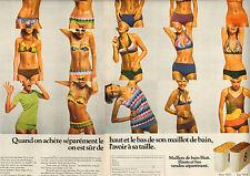 """Publicité 1974  ( Double page )  Lingerie Maillot de bain Huit """"8"""" sous vetement"""