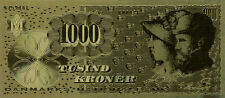 24 KARAT GOLD 1000 KRONER DENMARK NATIONAL BANK,BILL COMES IN ACRYLC GIFT HOLDER