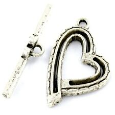 10 Sets 17x25mm Tibetan Silver Alloy Heart Toggle Clasps - A6384