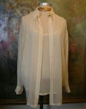 GIANNI VERSACE Silk Twin Set Camisole Top Blouse Jacket Shirt Gold Ivory LARGE +