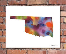 Oklahoma Map Abstract Watercolor Painting Art Print by Artist DJ Rogers