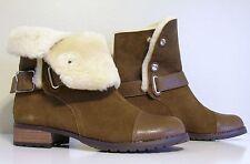 Size 7 Matt Bernson Shearling Brown Leather Short Boot Sundance Catalog NEW $389