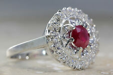 ANTIQUE 14K WHITE GOLD RUBY & DIAMOND HALO RING 1.00 CT RUBY