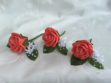 Buttonholes corsage wedding flowers x3 Ivory ,red,pink,purple rose