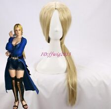 Dead Or Alive HELENA 75cm Long blonde no bang straight cosplay wig+a wig cap