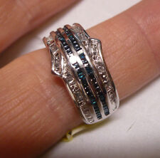 Blue and White Diamond Band Sz. 8  54 diamonds(baguette) .50tcw MSRP$899.00
