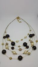M&S Necklace-layers ( pearls/crystals/wood)