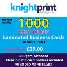 1000 SOFT TOUCH laminated business cards, double sided, 350gsm silk,