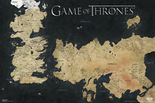 GAME OF THRONES- MAP OF WESTEROS AND ESSOS 24x36 POSTER TV SERIES HBO DRAMA COOL