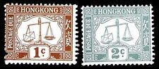 HONG KONG #J1-J2 POSTAGE DUE ISSUES OF 1923 - OGVLH - VF - CV $15.75 (ESP#9817)