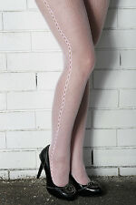 NEW Baby PINK Fishnet with Loop Side Seam Pattern Soft Nylon Stockings TIGHTS