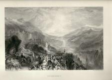 Stampa antica CASTELLO di HEIDELBERG Germany Turner 1880 Alt Stich Old Print