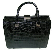 RAPHAEL Crocodile Briefcase Laptop Pilot CASE 37 cm Handbag Business Black ITALY