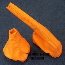FOR SEAT IBIZA MKII CORDOBA 1993-1999 6K GEAR HANDBRAKE GAITER ORANGE LEATHER