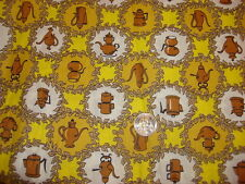 """Vintage Cotton Fabric FIGURAL COFFEE POT MEDALLIONS,Gold,Yellow,White,1 Yd/42"""""""