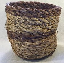 Hand Woven SNAKE CHARMER Wicker ROPE BASKET Brown~Beige Plant Round PLANTER POT