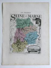 SEINE et MARNE carte géographique Vuillemin Atlas Migeon MELUN FONTAINEBLEAU