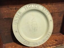 Vintage Antique Wood German Daily Bread Plate Carved Ship Gib Uns Heute