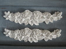 TWO  SHABBY CHIC VINTAGE  ROSE DECORATIVE FURNITURE  SWAG MOLDINGS.