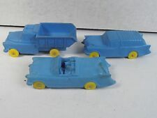 "OHIO ART RUBBER TOY 5"" BLUE *TRUCK, CHEVY NOMAD, CADILLAC CAR LOT* AUBURN"