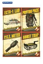 Ghostbusters Tech Poster Set Quantum Mechanix Ecto-1 Lab Proton Pack P.K.E. Mete