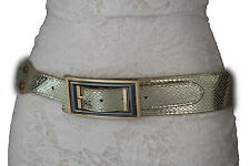 Women Fashion Belt Metallic Gold Snake Skin Print Hip Waist Big Square Buckle M