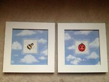 Ladybug and Bumblebee Pictures in white wooden frames - great for the nursery!