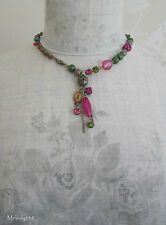 Retro PILGRIM Necklace PLASTIC FANTASTIC Dice SWAROVSKI Gold/Pink/Green BNWT
