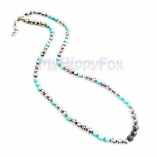 Lucky Brand Antiqued Silver Tone Turquoise & Shiny Pave Stone Bead Necklace