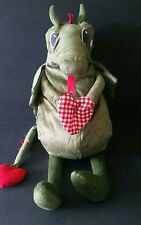 Ikea Flygdrake Dragon Stuffed Plush Green With Hearts 24 Inch Toy