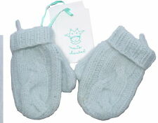 Marie Chantal 100% Cashmere Baby Blue Mittens 6-12 months NWT SP £33