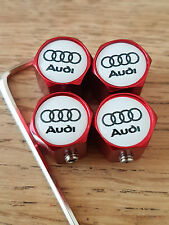 AUDI RED ANTI THEFT DUST VALVE CAPS LIMITED ALL MODELS RETAIL PACKED GIFT S LINE